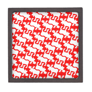 White Moose Silhouette pattern on Red Jewelry Box
