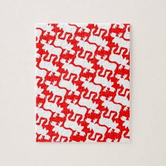 White Moose Silhouette pattern on Red Jigsaw Puzzle