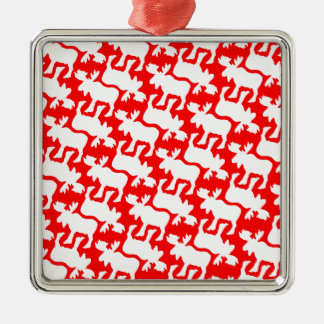 White Moose Silhouette pattern on Red Metal Ornament