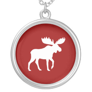 White Moose Silhouette Silver Plated Necklace