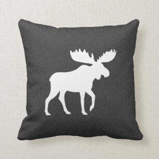 White Moose Silhouette Throw Pillow