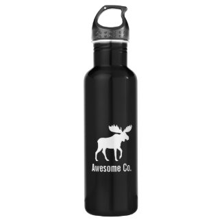 White Moose Silhouette with Custom Text Stainless Steel Water Bottle
