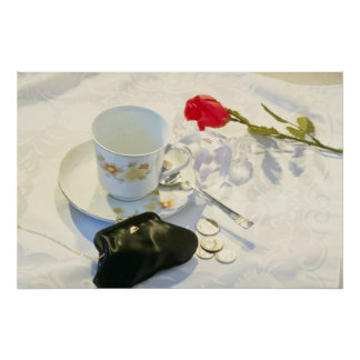 White Morning coffee and rose flowers Poster