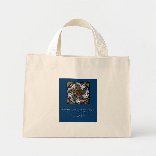 White Morning Glories - Gertrude Stein Quote Bag