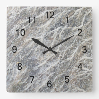 White Moss on Driftwood Square Wall Clock