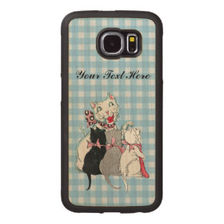 White Mother Cat Wearing Pink Bow Three Kittens Wood Phone Case