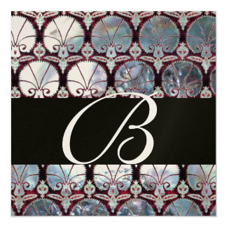 WHITE  MOTHER OF PEARL DAMASK CARNATIONS MONOGRAM CARD