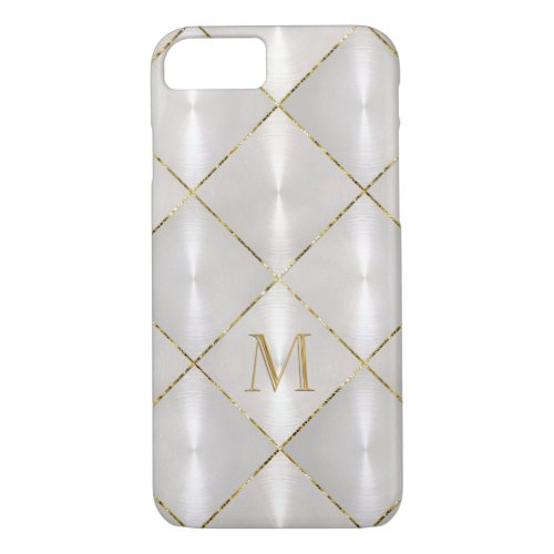White Mother of Pearl with Gold Monogram Phone Case