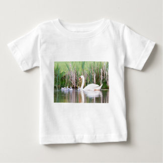 White mother swan swimming with chicks baby T-Shirt