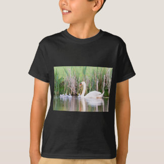 White mother swan swimming with chicks T-Shirt