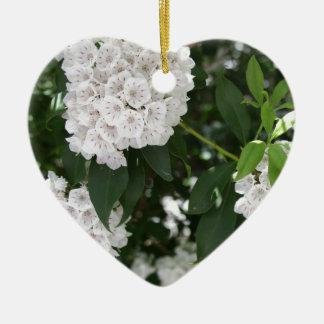 White Mountain Laurel Star Shaped Flowers Ceramic Ornament
