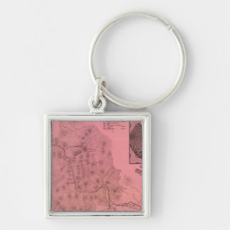 White Mountains top map Silver-Colored Square Keychain