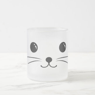 White Mouse Cute Animal Face Design Frosted Glass Coffee Mug