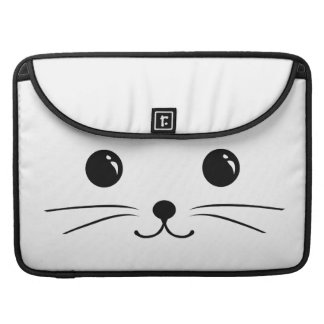 White Mouse Cute Animal Face Design Sleeve For MacBooks