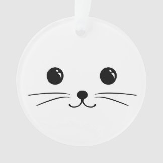 White Mouse Cute Animal Face Design Ornament