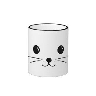 White Mouse Cute Animal Face Design Ringer Mug