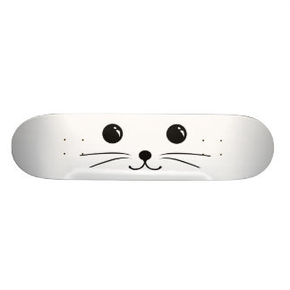 White Mouse Cute Animal Face Design Skate Boards