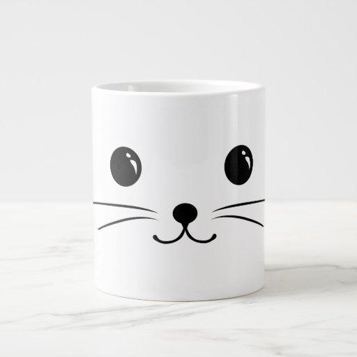 White Mouse Cute Animal Face Design Extra Large Mugs