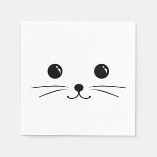 White Mouse Cute Animal Face Design Standard Cocktail Napkin