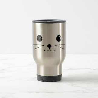White Mouse Cute Animal Face Design Travel Mug