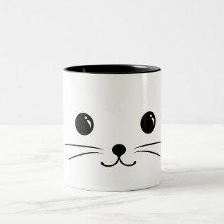 White Mouse Cute Animal Face Design Two-Tone Coffee Mug