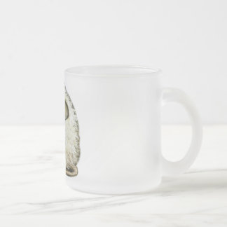 white mouse frosted glass coffee mug