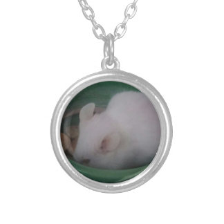 White Mouse in Food Bowl Silver Plated Necklace