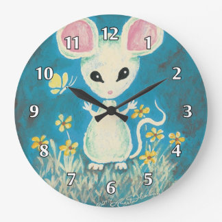 White Mouse with Yellow Flowers & Butterfly Large Clock