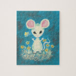 White Mouse with Yellow Flowers & Butterfly. Jigsaw Puzzles