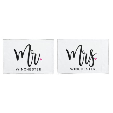 White Mr. + Mrs. (name) Personalized Pillowcases
