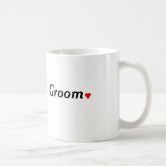 white mug for groom  with heart