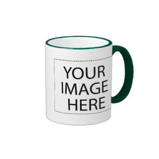 White mug green trim Two-Image Template 15oz
