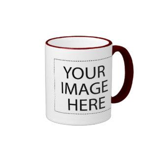 White mug maroon trim Two-Image Template 11oz