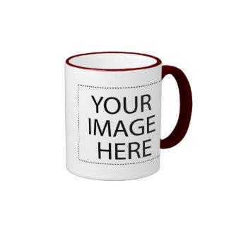 White mug maroon trim Two-Image Template 15oz