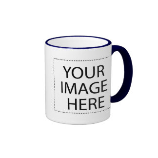 White mug navy trim Two-Image Template 11oz
