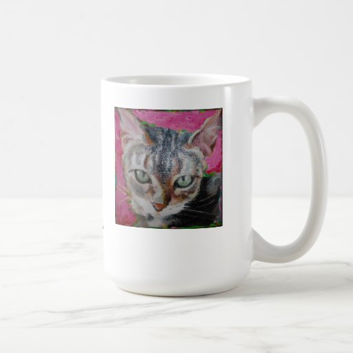 White mug with a beautiful cat face