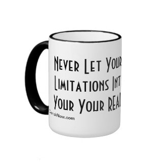 White mug with black trim, Motivational