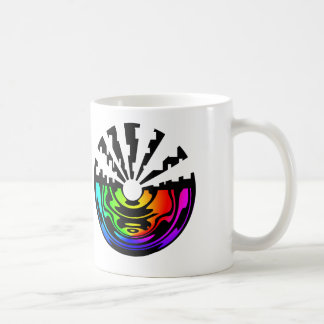 white mug with manipulated molecule logo.