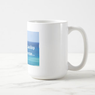 White mug with ocean and love message