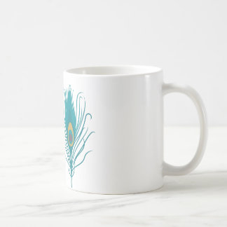 White Mug with Peacock Feather