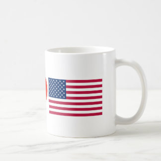 white Mug with your message WE LOVE OUR FLAG
