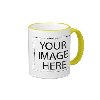 White mug yellow trim Two-Image Template 15oz