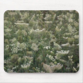 white Multi-exposure of Queen Anne's lace flowers Mousepads