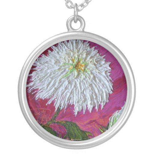 White Mum Necklace