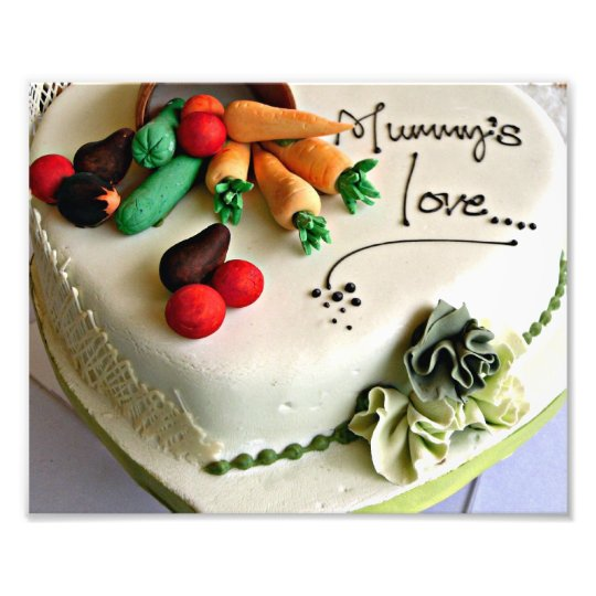 White Mummy's love Mother's Day Vegetable Cake Photo Print