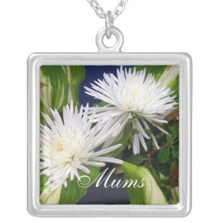 White Mums Green Silver Plated Necklace