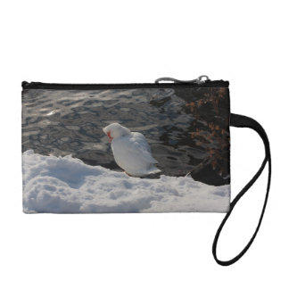 white Muscovy duck in the snow Coin Wallet
