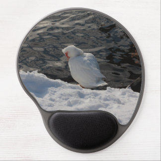white Muscovy duck in the snow Gel Mouse Mat