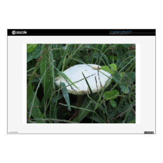 """White mushroom on a green meadow 15"""" laptop decal"""
