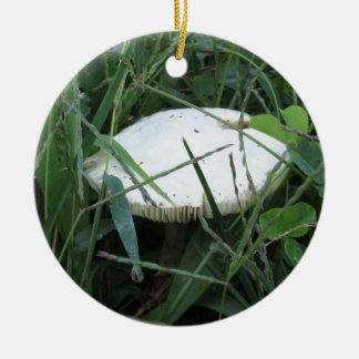 White mushroom on a green meadow Double-Sided ceramic round christmas ornament